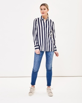 Newhouse Blockstripe Blouse Navy