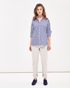 Newhouse Elsa Preppy Striped Shirt Navy