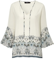 Capri Collection Medina Tunic Creme/Reef blue M
