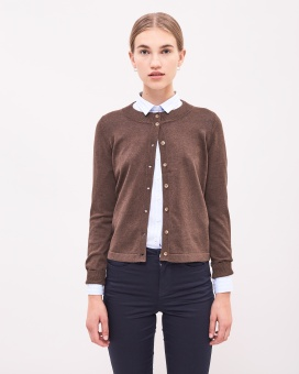 Newhouse Cotton Cardigan Chocolate