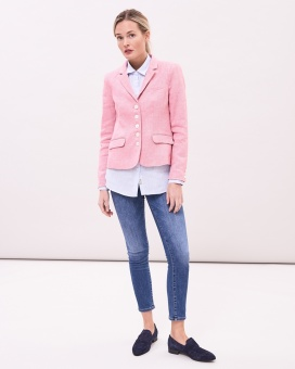 NewHouse Linen Blazer Light Pink