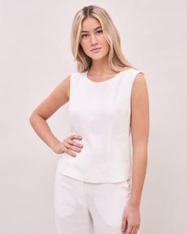 Newhouse Lilen Top White