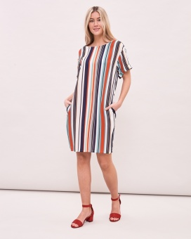 Newhouse Multistriped Dress Mandarin