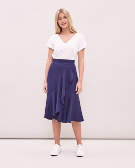 Newhouse Anna Ruffle Skirt Navy
