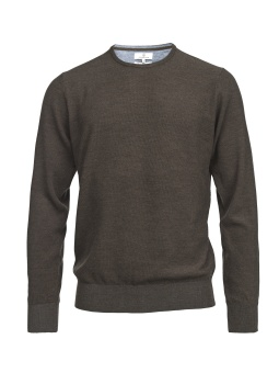 Hansen & Jacob Crew Neck Structure Merino Brown