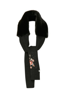 Cream Vigga fur scarf Pitch Black