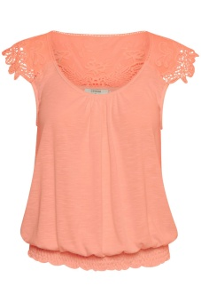 Cream Kaily top Bright Coral