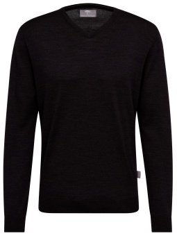 Fynch Hatton v-neck, Pure merino wool, black