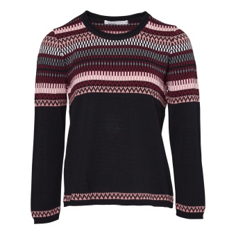 Skovhuus Jumper w. jaquard border Black Winter Rose XXL