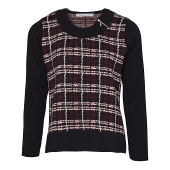 Skovhuus Checked jumper w. zip effect L