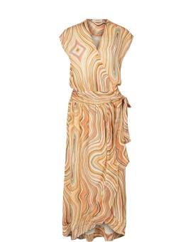 MosMosh Alexa Swirl Dress Sun Orange Printed