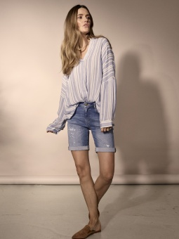 Mosmosh Hessa Stelo Stripe Blouse Blue Stripe