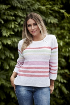 Skovhuus Striped structure Jumper White