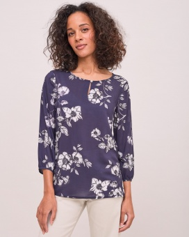 Newhouse Flower Blouse Navy