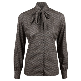 Stenströms Medallion Patterned Feminine Blouse With Bow Collar
