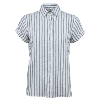 Stenströms Shirt Back Pleat short sleeve grey