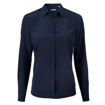 Stenströms Navy Feminine Silk Shirt, Stretch