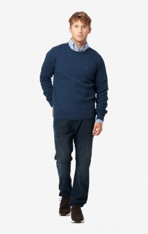 Boomerang Cotton Cashmere Cable Crew Neck Sweater DK. Navy