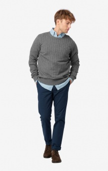 Boomerang Cotton Cashmere Cable Crew Neck Sweater Grey Mel.