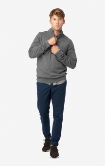 Boomerang Cotton Cashmere Half Zip Sweater Grey Mel.