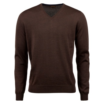 Stenströms V-neck w. patch Merino wool