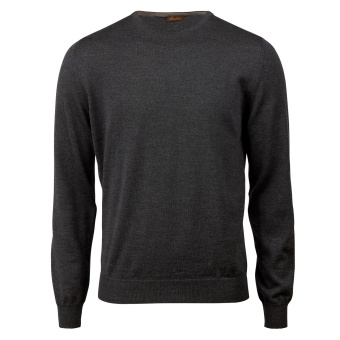 Stenströms Grey Merino Crew Neck With Patches