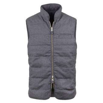 Stenströms Grey Quilted Reversible Wool/Nylon Vest