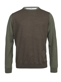 Hansen & Jacob Merino 3-Color Sweater Brown