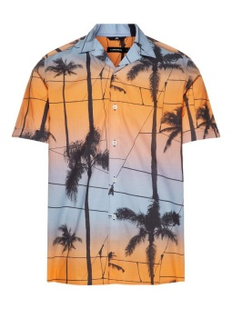 J.Lindeberg David SS Resort Printed Palm Cool Peach