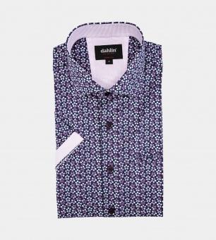 Dahlin Småmönstrad blommig skjorta - kort ärm S