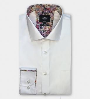 Dahlin twillskjorta vit med blomsterkrage