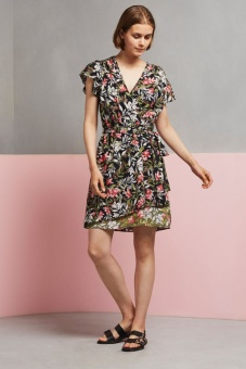 French Connection Floreta Shadow Wrap Dress Black Multi