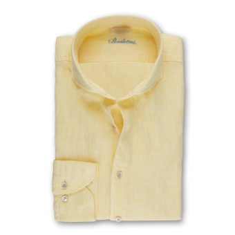 Stenströms Yellow Fitted Body Linen Shirt