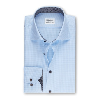 Stenströms Blue Fitted Body Shirt w. Contrast