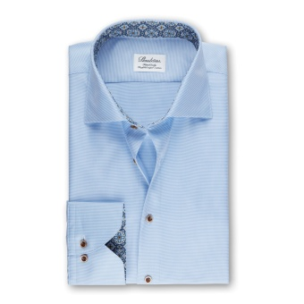 Stenströms Light Blue Micro Patterned Fitted Body Shirt With Contrast