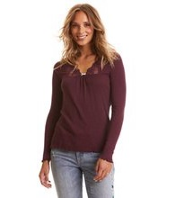 Odd Molly Rib-eye l/s top burgundy