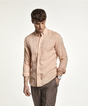 Morris Douglas Linen Shirt Orange