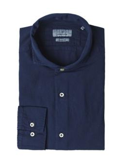 Hansen&Jacob Shirt Dobby Sun Melange Mid Blue