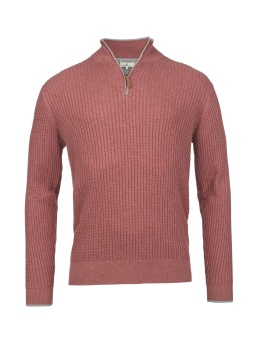 Hansen&Jacob Half Zip Mini Cable Knit Red