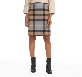Barbour Nebit Pencil Skirt Oatmeal Tartan