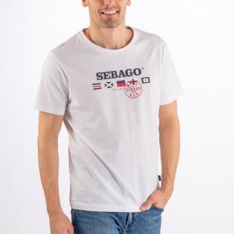 Sebago Flag Logo Tee White