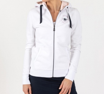 Sebago Port full zip hoodie white