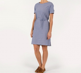 Sebago Linen Jersey midi dress Blue/offwhite