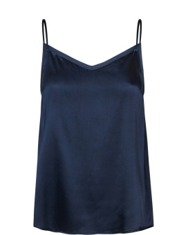 Mosmosh Ditte Silk Singlet Dark Blue