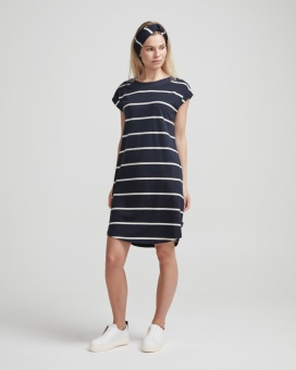 Holebrook Natalie Capsleeve Dress Navy/OffWhite