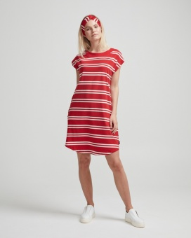 Holebrook Natalie Capsleeve Dress Scarlet/OffWhite