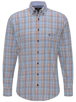 Fynch Hatton Supersoft Twill Shirt Sienna Blue