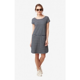 Boomerang Millie Striped Pique Dress Midnight Blue