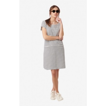 Boomerang Millie Striped Pique Dress Offwhite