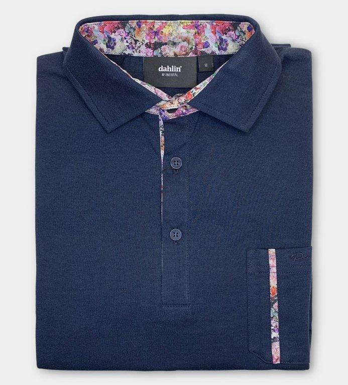 Dahlin Jersey Piké med ficka - Mörkblå